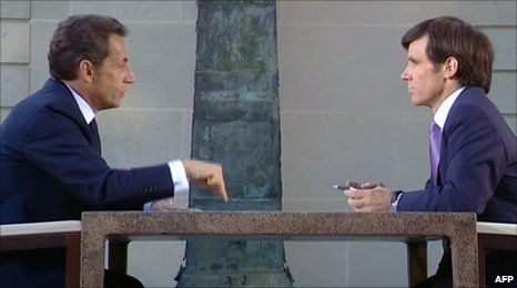 President Sarkozy interviewed by David Pujadas on France 2 TV channel 12.7.10