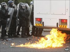 Petrol bomb thrown at police