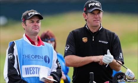 Lee Westwood with his caddy Billy Foster