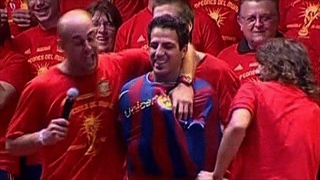 Jose Reina, Cesc Fabregas and Carles Puyol