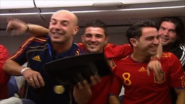 Jose Reina, David Villa and Xavi Hernandez