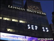 Investment banking giant Lehman Brothers files for bankruptcy, 15 Sept 2008
