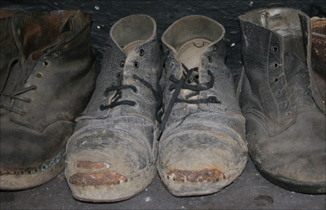 A quarryman's boots left in the mess room