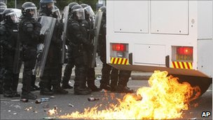Petrol bomb lands near police