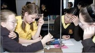 Pupils in a science lesson
