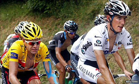 Andy Schleck (right) leads Cadel Evans