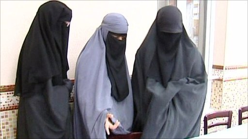 Women wearing the full Islamic veil