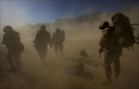 US troops in a sand storm, Kandahar (file  photo)