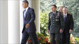President Obama with General Petraeus and Secretary Gates