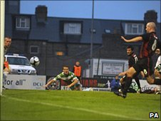 Killian Brennan heads the winner for Bohemians