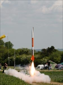 A rocket taking off