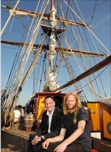 Councillor Nigel Howells and the Captain of the 'Tres Hombres' Arjen Van Der Veen