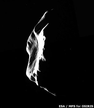 Crescent view of Lutetia as Rosetta moves away (Esa)