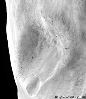 Close-up of Lutetia crater (Esa)