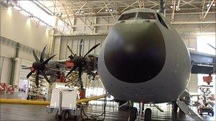 A400M in a hanger