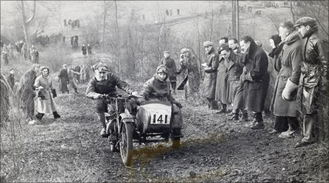 A Baughan motorcycle competing in the 1946 Cotswold Cup