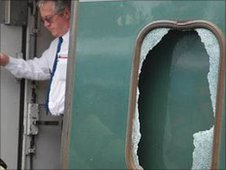 Damage caused during attack on train