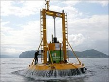 PowerBuoy wave energy device being developed by a company called Ocean Power Technology