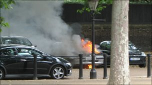 Car on fire. Picture by Nick Wright 