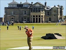 Tom Watson plays a practice round at the Old Course ahead of The Open