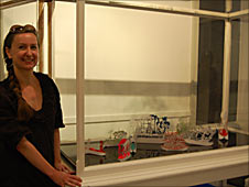 Helen Snell with her laser cut paper boats