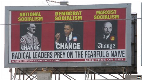 Billboard linking Obama to Hitler and Lenin