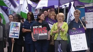 The protest at Lyng health centre