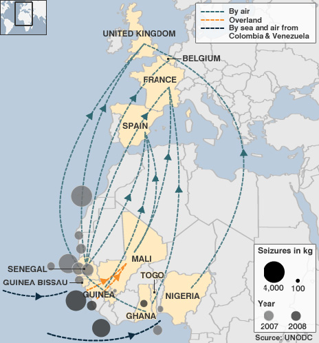 Map of drug routes and seizures