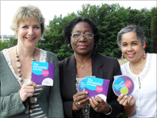 Llanllechid headmistress Gwenan Davies Jones and Mavisville school teachers Gloria Anderson and Bev Ledgister