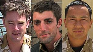 Left to right: Maj James Joshua Bowman, Lt Neal Turkington, Cpl Arjun Purja Pun