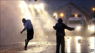 Republican rioters in north Belfast on 13 July, 2010