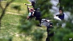 Armed police during the stand-off with Raoul Moat