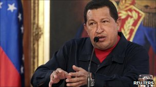 Venezuelan President Hugo Chavez in a file photo from 2 July