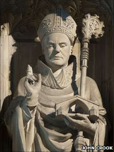 Statue of St Swithin at Winchester Catherdral (Pic: John Crook)