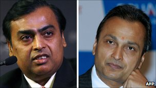 Mukesh Ambani (L) and Anil Ambani
