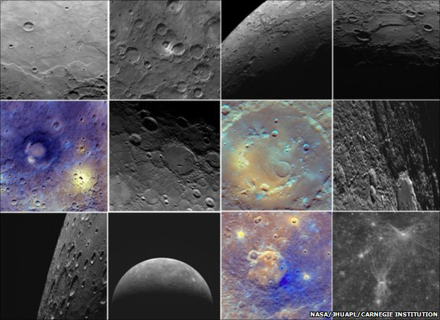 Images of Mercury captured by Nasa&#039;s Messenger spacecraft (Image: NASA/JHU Applied Physics Laboratory/Carnegie Institution)