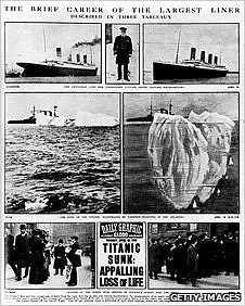 Newspaper reported the Titanic disaster