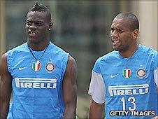 Inter Milan striker Mario Balotelli (left) and right-back Maicon