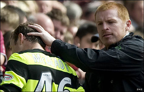 Celtic manager Neil Lennon gives Aiden McGeady a pat on the head