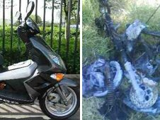 Dean's moped before and after his accident