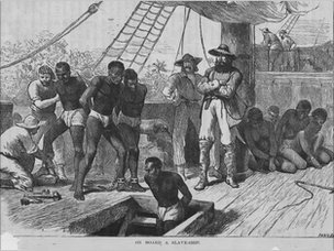 Drawing of slaves on a ship in 1835