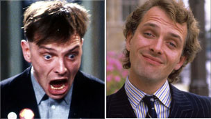 Rik Mayall as Rik in the Young Ones and Alan B'stard in the New Statesman