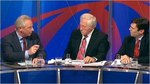 Francis Maude, David Dimbleby and Andy Burnham