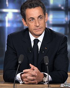 French President Nicolas Sarkozy waits to be interviewed on French television channel TF1