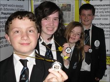 Pupils from Culcheth High School in Cheshire with their Spelling Bee medals