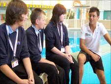 School reporters from Dartmouth Community College interview Tom Daley at th Mayflower Leisure Centre, Plymouth