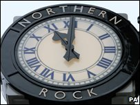 Northern Rock clock above the branch in Northumberland Street in Newcastle