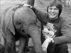 BBC WM presenter, with elephant