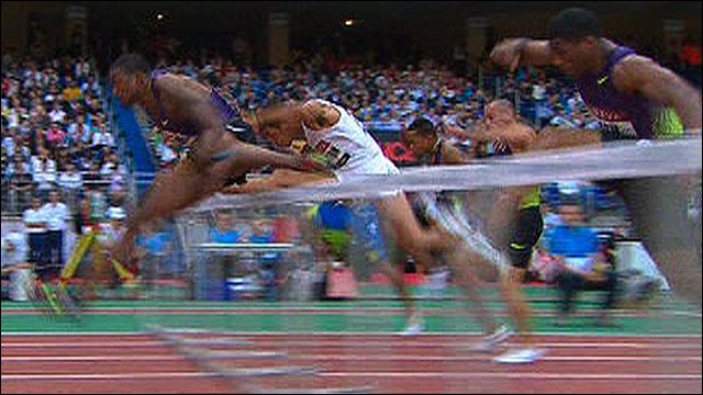 David Oliver wins the 110m hurdles