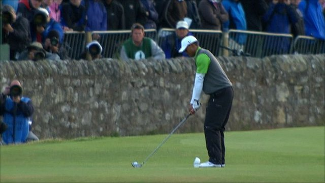 Tiger Woods tees-off on the 18th